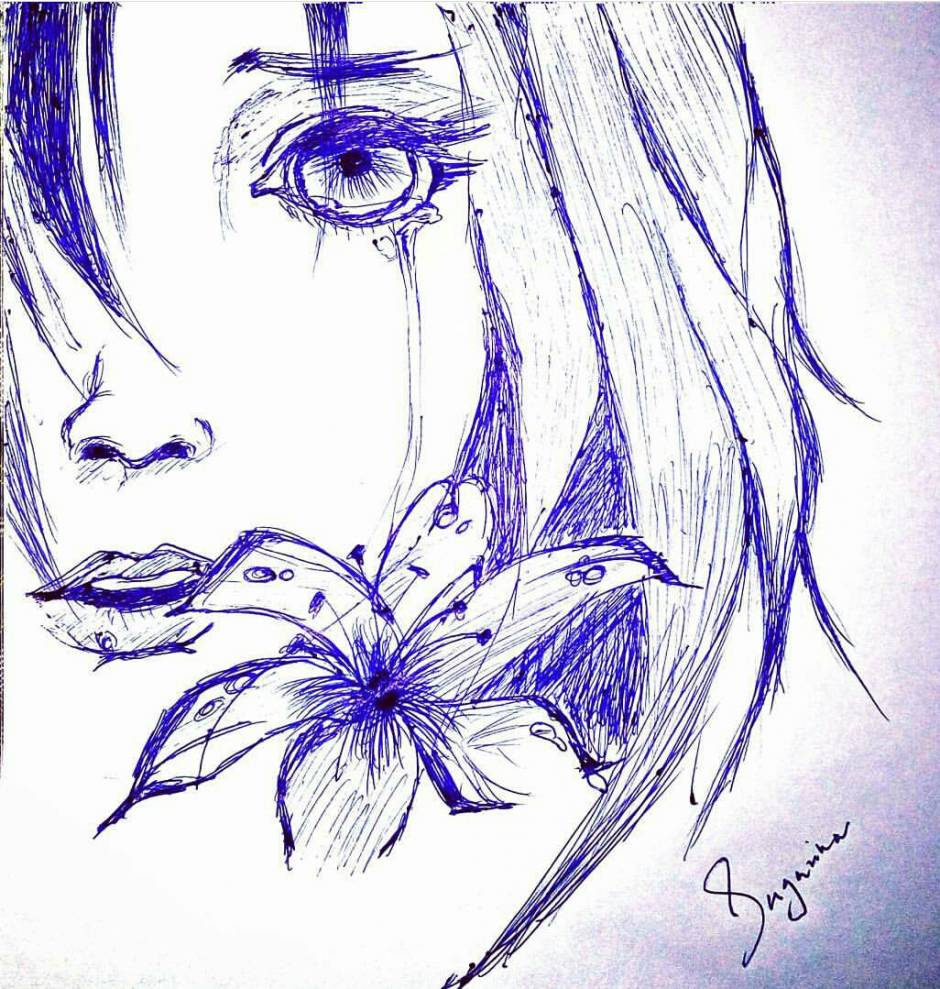 Pen sketch of sad girl with a flower