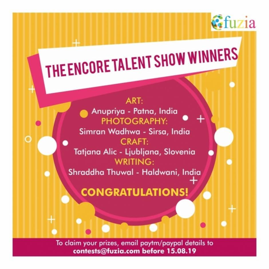 Congratulations to the encore talent winners!